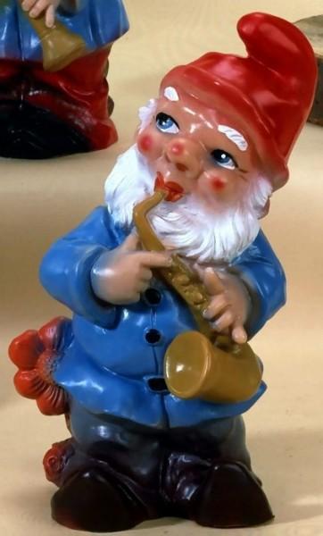 Gartenzwerg Musiker mit Saxofon