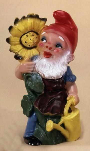 Gartenzwerg mit Sonnenblume